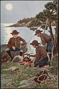 Drawing of Boy Scout troop