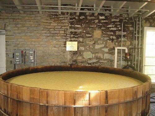 Bourbon wash in open fermenter