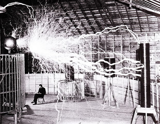 Nikola Tesla in his Colorado Springs laboratory