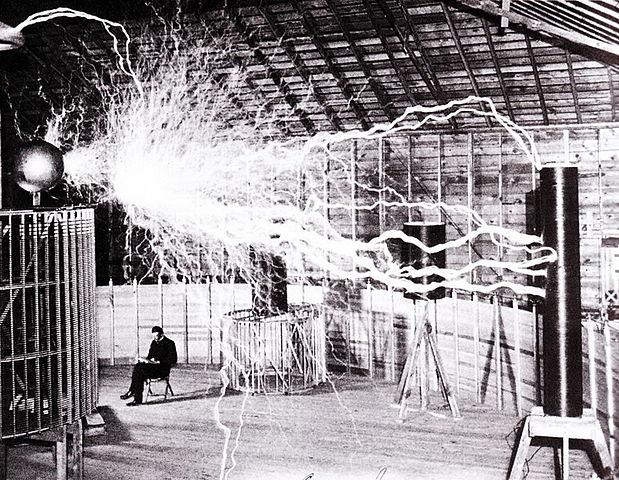 Nikola Tesla in his Colorado Springs laboratory