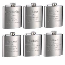 Personalized Custom Engraved 6oz Stainless Steel Flasks for Weddings