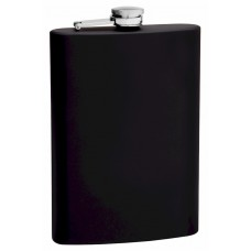 12oz Black Rubberized Coated Hip Flask, Heavy Duty