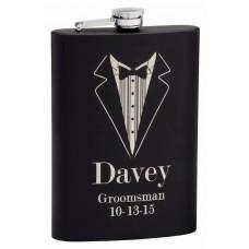 12oz Black Rubber Coated Groomsman Tuxedo Flask