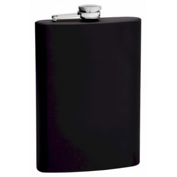 12 oz. Black Rubber Coated Flask | Flasks.com