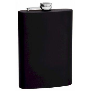 12 oz. Black Rubber Coated Flask | Flasks.com