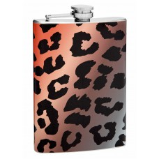 8oz Colorful Leopard Printed Hip Flask