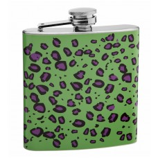 6oz Green and Purple Leopard Print Hip Flask