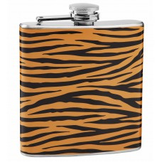 Tiger Print 6oz Stainless Steel Hip Flask