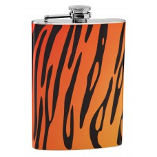 8oz Tiger Pattern Print Hip Flask