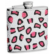 6oz Leopard Print Flask made from Rhinestones