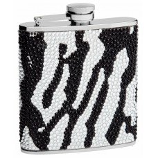 6oz Zebra Print Rhinestone (Crystal Bead) Hip Flask