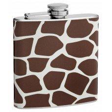 6oz Brown Giraffe Pattern Hip Flask