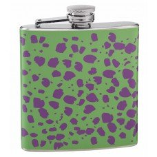 6oz Purple and Green Cheetah Skin Printed Hip Flask