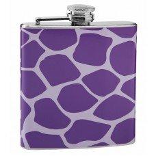 Light and Dark Purple Giraffe Print Hip Flask
