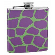 Purple and Green Giraffe Print 6oz Hip Flask