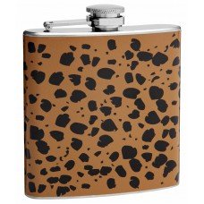 6oz Orange and Black Cheetah Print Hip Flask