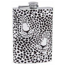 8oz Custom Snow Leopard Print Flask