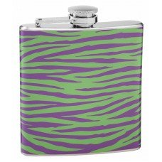 Green and Purple 6oz Tiger Print Flask