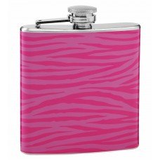 6oz Pink on Pink Tiger Print Drinking Flask