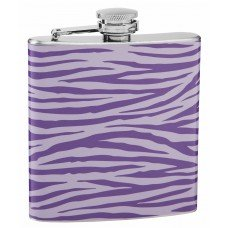 Light and Dark Purple Tiger Print 6oz Hip Flask