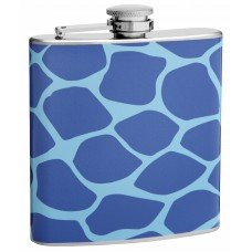 Two Tone Blue Giraffe Print 6oz Hip Flask