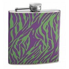 6oz Purple and Green Zebra Print Hip Flask