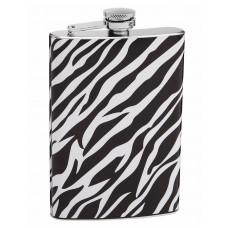 Authentic 8oz White and Black Zebra Print Flask