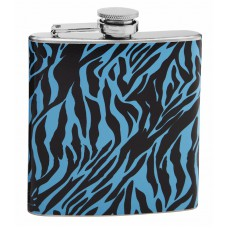 6oz Blue and Black Zebra Pattern Hip Flask