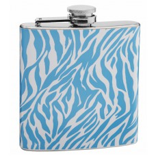 Blue and White Zebra Print 6oz Hip Flask