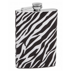 Authentic 8oz White and Black Zebra Print Flask