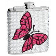 6oz Rhinestone Butterfly Hip Flask