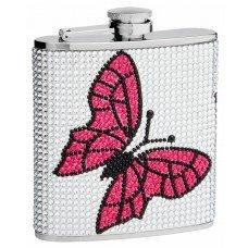 6oz Rhinestone Butterfly Hip Flask