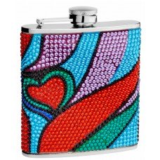 6oz Beaded Hip Flasks with Actual Rhinestones