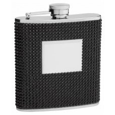 6oz Rhinestone Hip Flask with Black Beads