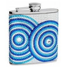 6oz Genuine Rhinestone Hip Flask with Beads