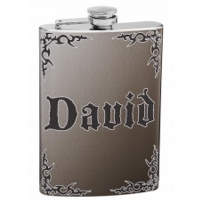 Personalized 4 Corner Scroll Design Flask
