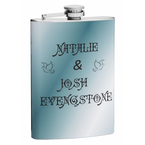 this hip flask is customizable to feature your name or other
