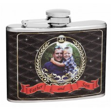 4oz Father and Son Personalized Picture Hip Flask