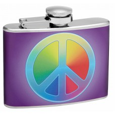 4oz Rainbow Peace Symbol Hip Flask
