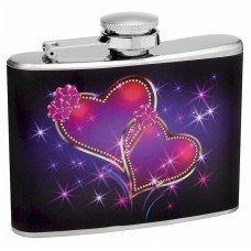 4oz Sparkling Linked Hearts Hip Flask