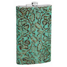 64oz Genuine Teal Leather Flask with Embossed Design