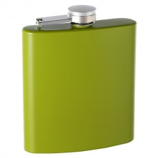 6oz Soft Rubber-Coated Hip Flask, Lime Green