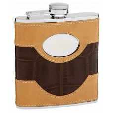 6oz Two-Tone Faux Leather Flask with Oval Engraving Area