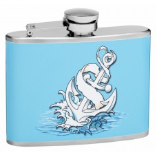 4oz Blue Anchor Hip Flask