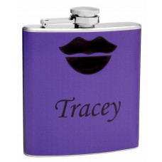 6oz Purple Wrapped Flask with Sexy Lips and Name Customization