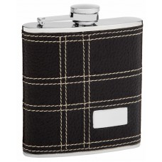 6oz Faux Leather Flask for Men with Monogram