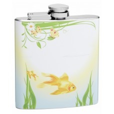6oz Swimming Gold Fish and Sitting Butterflys Hip Flask
