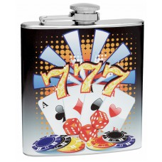 6oz Lucky Number 7 Gambling Hip Flask