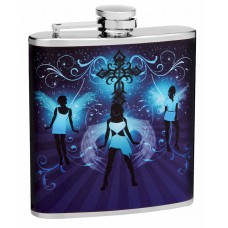 6oz Hip Flasks with Sexy Angel Girls Dancing
