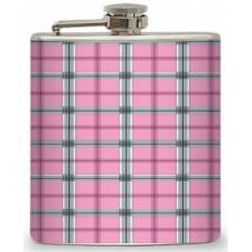 6oz Pink and Grey Plaid Flask